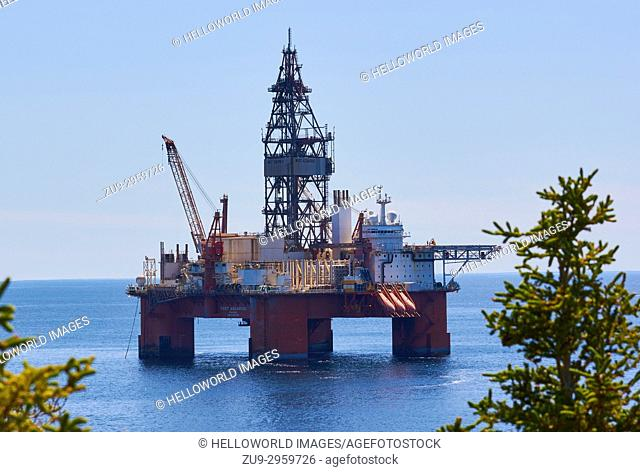 West Aquarius semi submersible drilling rig, Bay Bulls, Avalon Peninsula, Newfoundland, Canada