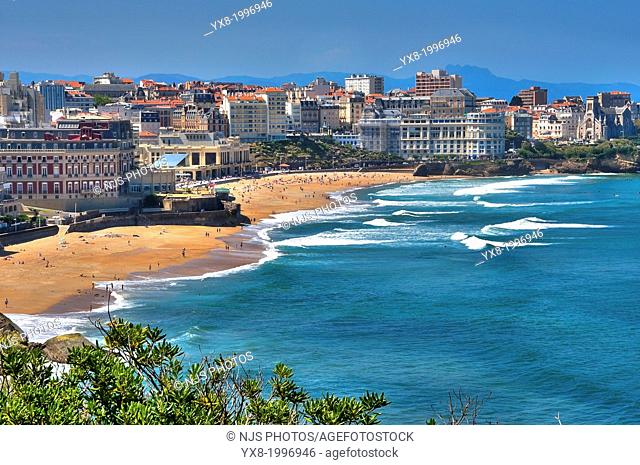 The Hotel du Palais in the Great Beach of Biarritz and Congress Center in the background, Basque Coast, Biarritz, Aquitaine, Basque Country