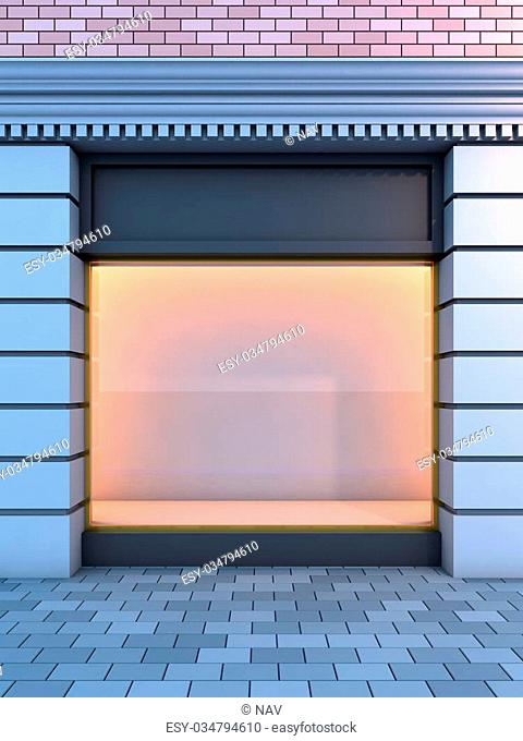 3D illustration of a classical empty storefront with the evening lighting