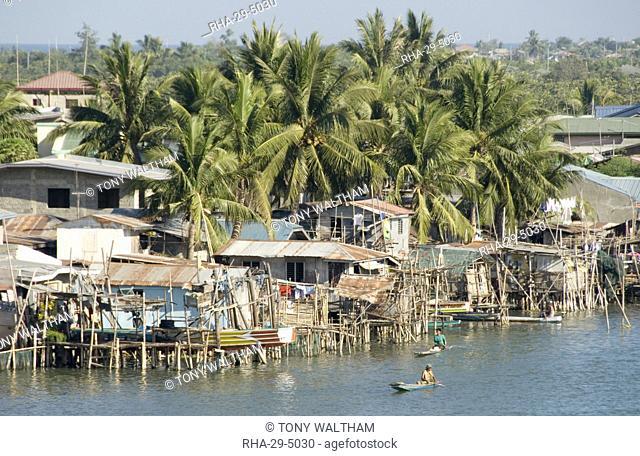 Fishermen's stilt houses in wetlands at south end of Lingayen Gulf, near Dagupan, northwest Luzon, Philippines, Southeast Asia, Asia