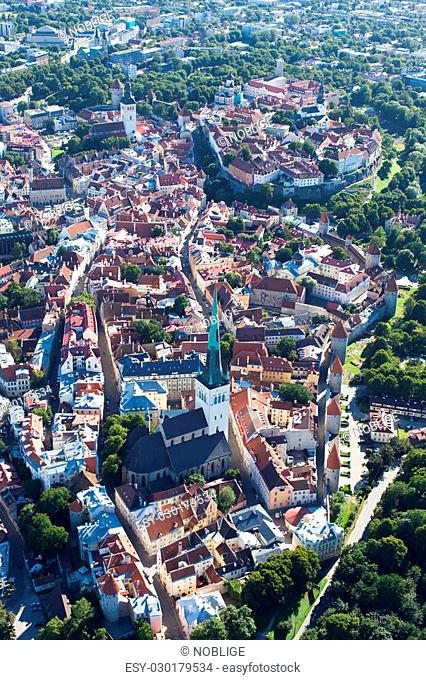 aerial view from helicopter at old town of tallinn, estonia, unesco world heritage site