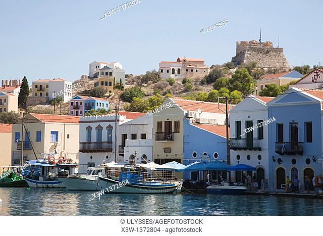 village of kastelorizo, island of kastelorizo or megisti, mediterranean coast, greece, europe