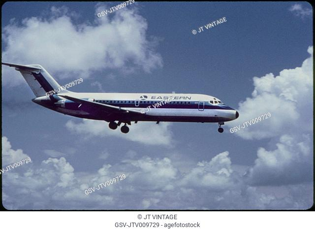 Eastern Airlines DC-9-10 Commercial Jet on Approach to Runway, 1960's