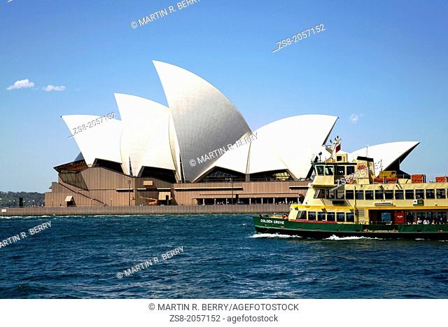 sydney ferry passing in front of opera house