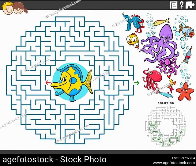 Cartoon illustration of educational maze puzzle game for children with funny fish and sea animals characters