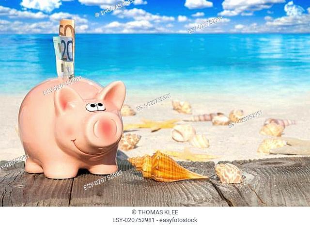 Rosa Sparschwein mit Geldscheinen auf dem Holzsteg