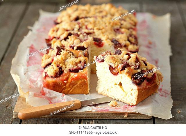 Plum crumble cake, sliced