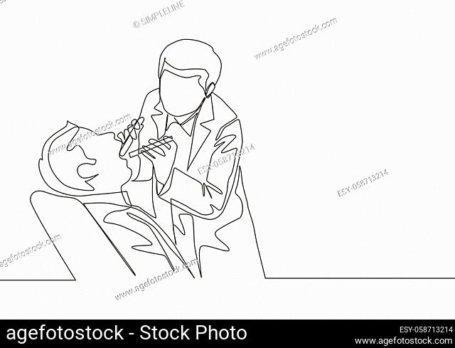 Single continuous line drawing of young male dentist examining patient teeth condition and doing tooth filling. Medical health care service workers concept one...