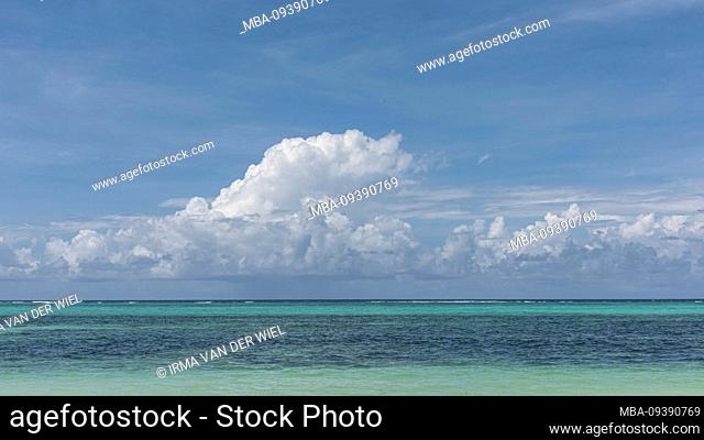 Zanzibar, Tanzania: dream beach on the east coast of this African island in the Indian Ocean. Turquoise blue sea, sky with a few harmless clouds: pure holiday...