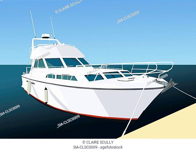 White recreational boat and horizon over sea