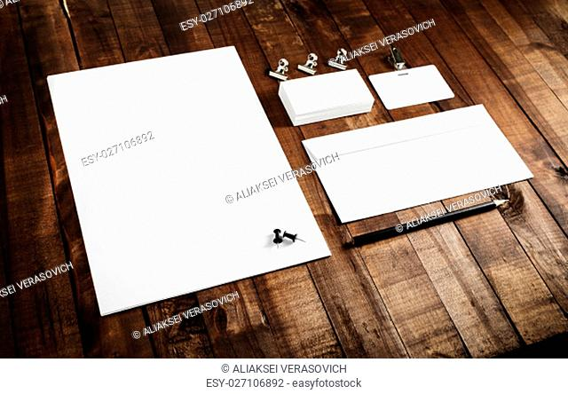 Photo of blank stationery set. Template for branding identity. Mock-up for branding identity for designers. Top view