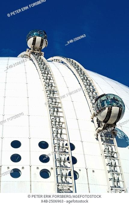 Globen, Ericsson Globe, with SkyView funicular railway, Johanneshov district, Stockholm, Sweden