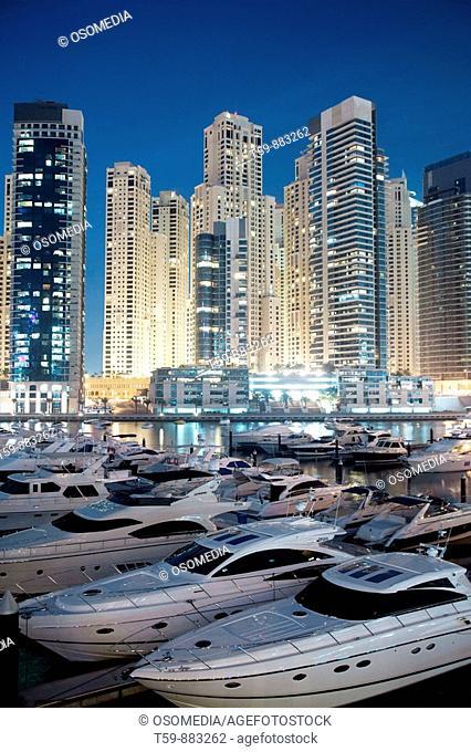 New Quarter Dubai Marina at dusk with yachting port, Dubai, United Arabian Emirates