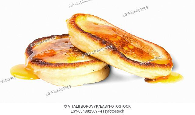 Two Sweet Pancakes With Maple Syrup Isolated On White Background