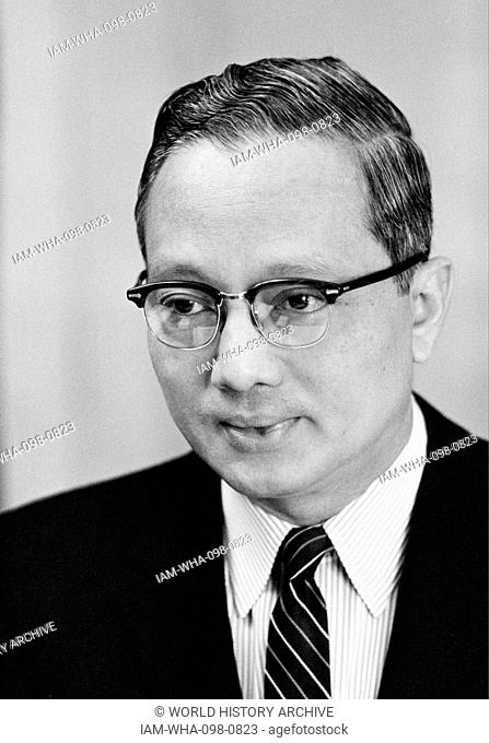 U Thant (1909 – 1974), a Burmese diplomat and the third Secretary-General of the United Nations from 1961 to 1971, the first non-European to hold the position