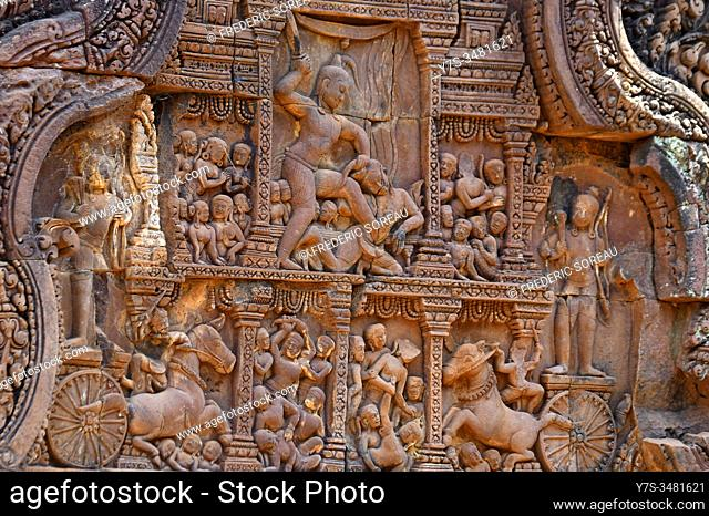 Stone carvings at Prasat Banteay Srei temple ruins, UNESCO World Heritage Site, Siem Reap Province, Cambodia, South East Asia