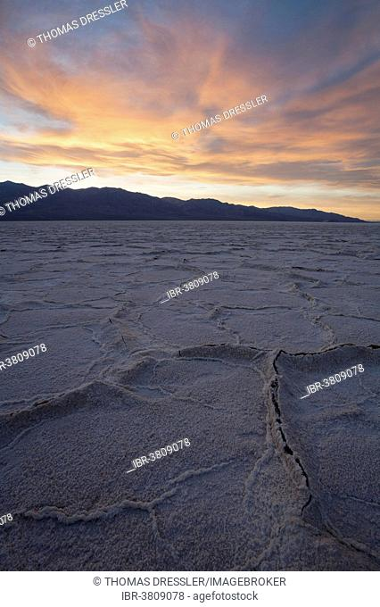 Salt crusts at the Badwater Basin, salt flats in the Death Valley, lowest point in North America, Death Valley National Park, California, USA