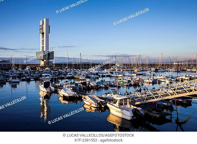 Marina and the Port Control Tower, Coruña city, Galicia, Spain