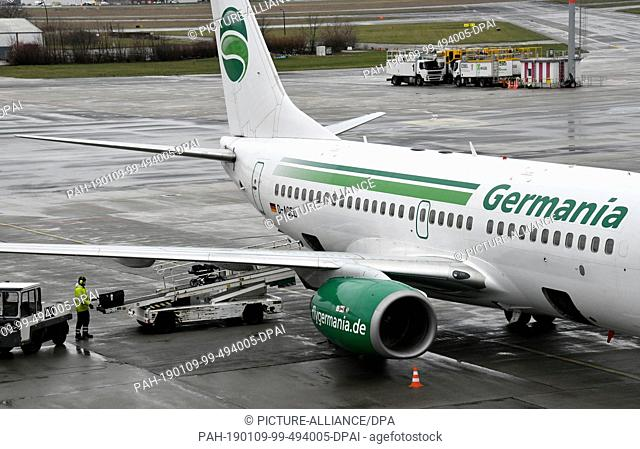 09 January 2019, Brandenburg, Schönefeld: Germania flight ST 3612 to Beirut is handled at Schoenefeld Airport. After the turbulent flight summer of 2018