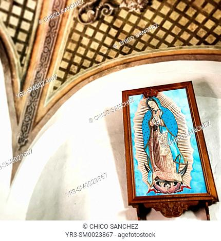 A blue image of Our Lady of Guadalupe decorates the Temple of Capuchins in Queretaro, Mexico