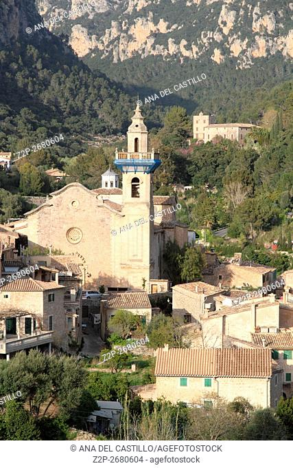 San Bartolome church Valldemossa village in Majorca island Balearic islands Spain