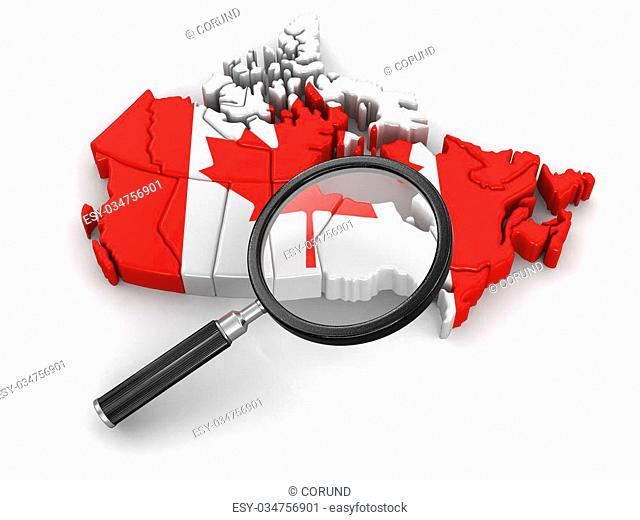 Map of Canada with loupe. Image with clipping path