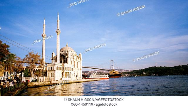 Ortakoy Mosque Buyuk Mecidiye Mosque at Ortakoy in Istanbul in Turkey in the Middle East