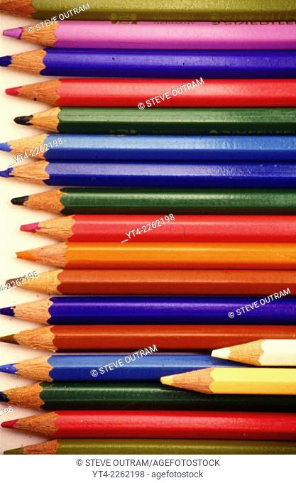 Collection of colouring pencils, Close-up