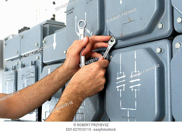 plugs, electrical switches plugs on the dashboard. electrician repairs dashboard. electrical repair, switching current