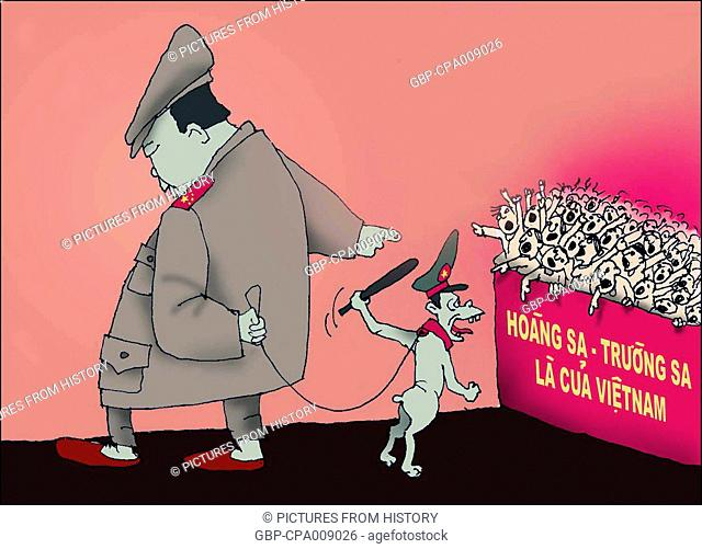 Vietnam: Cartoon shows Mao Zedong setting police attack dog on Vietnamese asserting 'The Paracels and the Spratlys Belong to Vietnam'