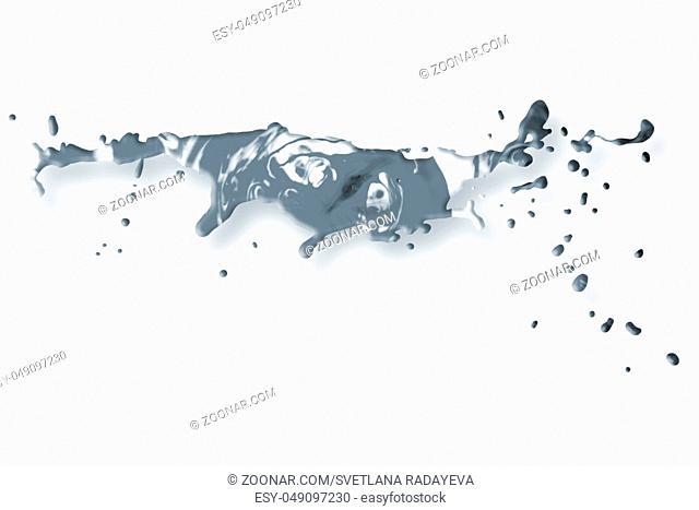 Abstract acrylic paint splash elements isolated on white background