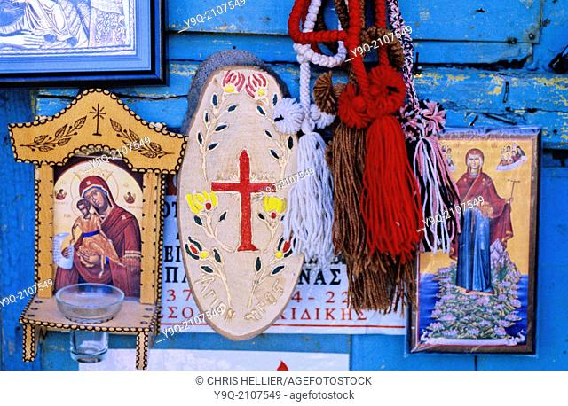 Religious Souvenirs Crosses & Icon Paintings for Sale at Karyes Mount Athos Greece