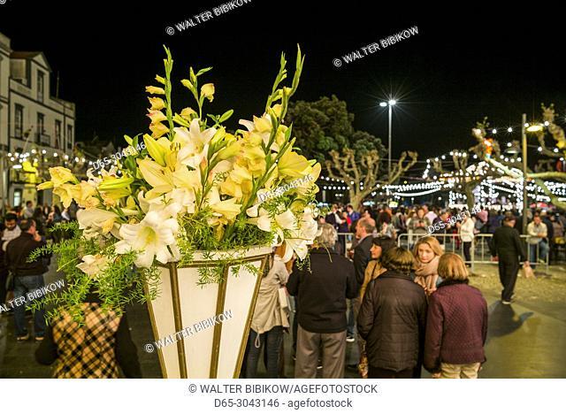 Portugal, Azores, Sao Miguel Island, Ponta Delgada, Festa Santo Christo dos Milagres festival, Praca 5 Outubro square, flowers