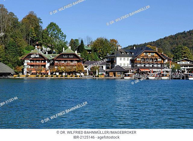 Koenigsee village on Lake Koenigsee, Berchtesgadener Land country, Upper Bavaria, Germany, Europe
