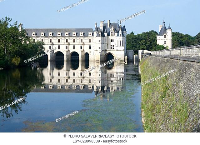 "Chenonceau Castle, Loire Valley, France. Known as """"the castle of the ladies"""" was built in 1513 by Katherine Briconnet, houses a collection of valuable..."
