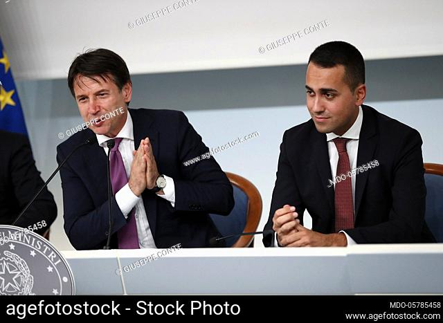 Chigi Palace. In the picture premier Giuseppe Conte Minister during the press conference of 'SpazzaCorrotti' decree. Rome September 06th, 2018