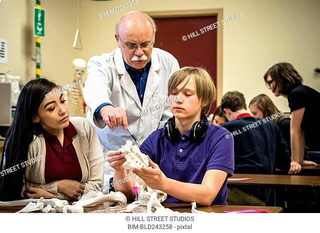 Teacher pointing to bones with students in science class