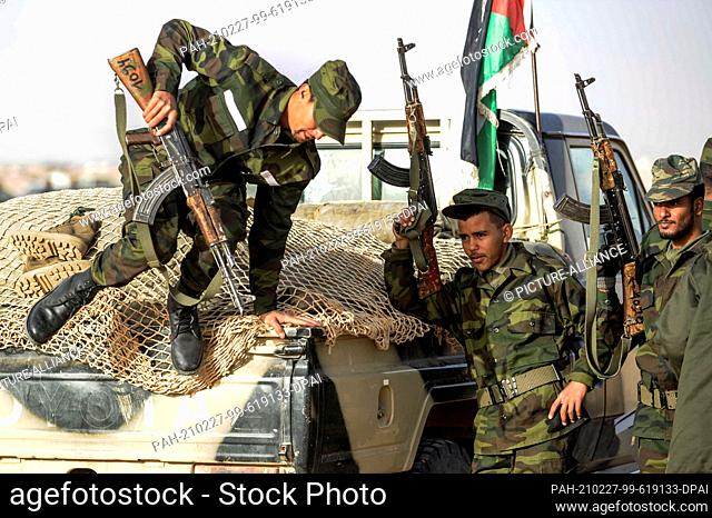 27 February 2021, Algeria, Tindouf: Sahrawi soldiers prepare for a military parade marking the 45th anniversary of the declaration of the Sahrawi Arab...