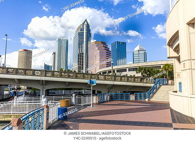 Tampa Riverwalk a pedestrian trail along the Hillsborough River in downtown Tampa, Florida