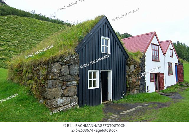 Iceland Skogasafn Turf Houses and church in South Iceland Skogar Museum museum for tourists and old houses