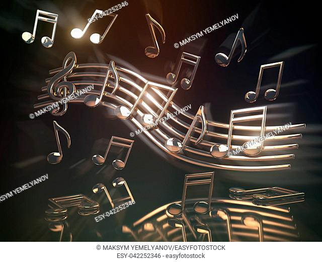 Golden musical notes and clef on the sheet. . Abstract musical background. 3d illustration