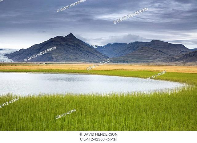 Tranquil, remote mountain landscape with fresh, green grass, Iceland