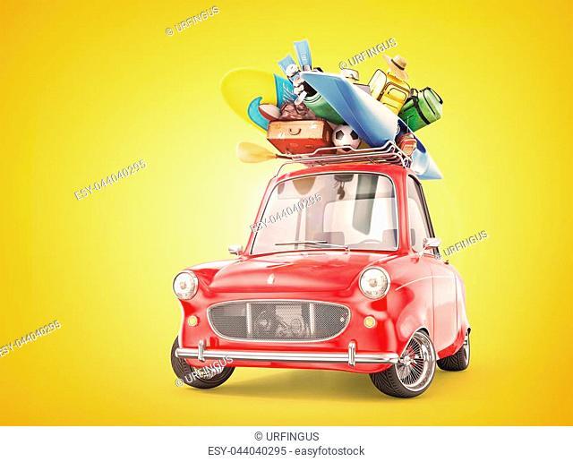 Travel concept. Retro car full of things for rest. 3d illustration