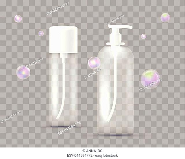Realistic set of different bottles for pharmaceutical, makeup isolated on transparent checkered. With dispenser for soap, shampoo, shower gel, lotion