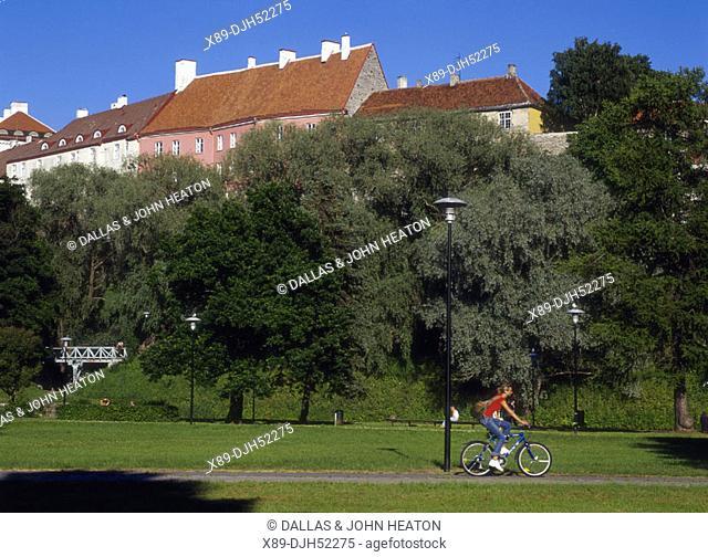 Toompea Fortress from Toompark, Old Town, Tallinn, Estonia
