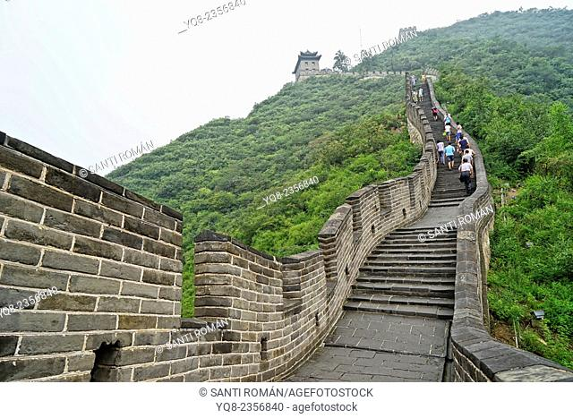 Tourists visiting the Great Wall of China, Badaling, Yanqing County, near Beijing, China
