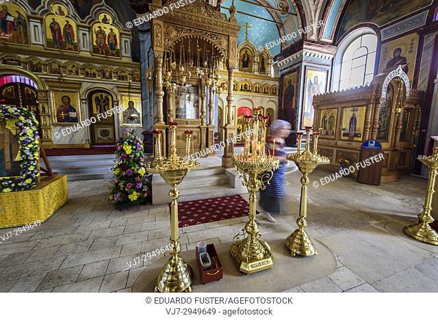 Interior of Cathedral of Beheading of Ioanna Predtechi, Zaraysk kremlin, Moscow Region (Russia)