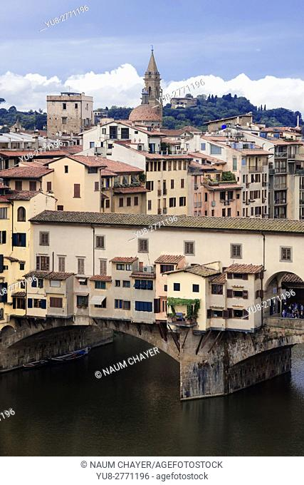 Top vertical view of Florence with Ponte Vecchio arch bridge and medieval city, Tuscany, Italy, Europe