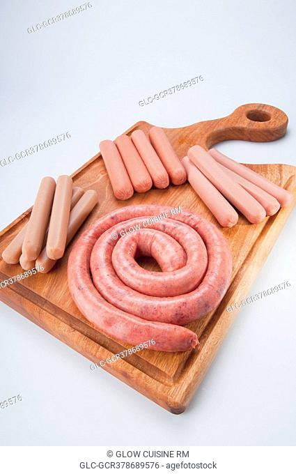 High angle view of assorted sausages