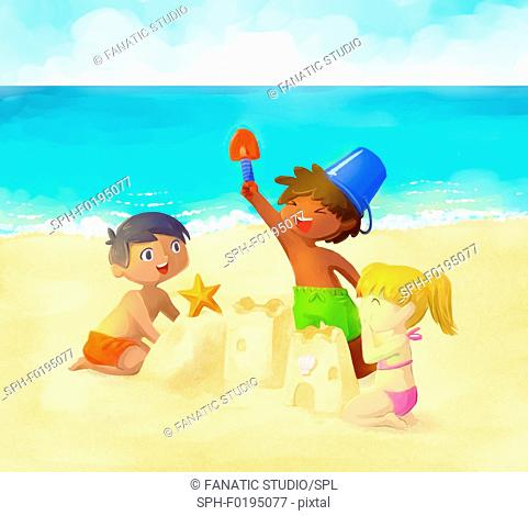 Illustration of children building sand castle on beach